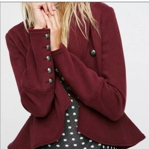 Free People Burgundy Peplum Military Blazer/Jacket